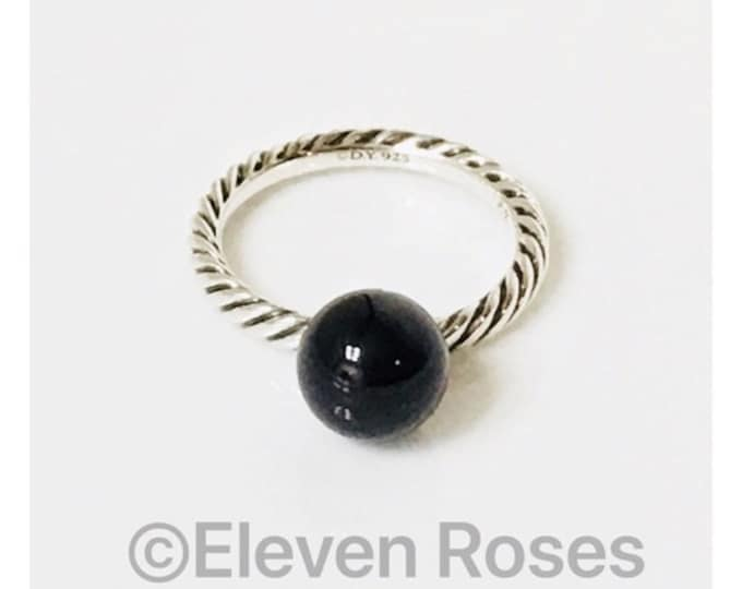 David Yurman Black Onyx Ball Dangle Elements Ring 925 Sterling Silver Free US Shipping