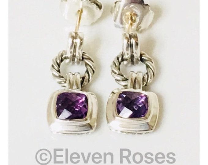 David Yurman Amethyst Renaissance Drop Earrings DY 925 Sterling Silver Free US Shipping