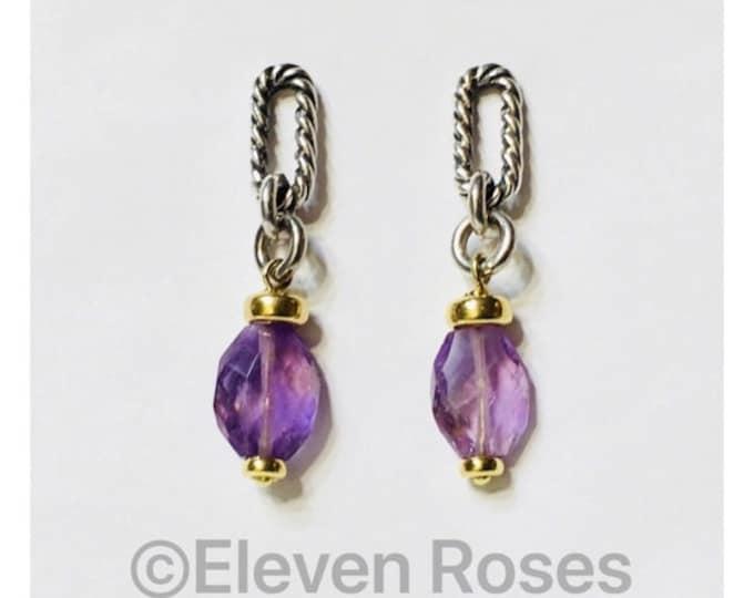 David Yurman Amethyst Bijoux Chain Drop Dangle Earrings 925 Sterling Silver 750 18k Gold Free US Shipping