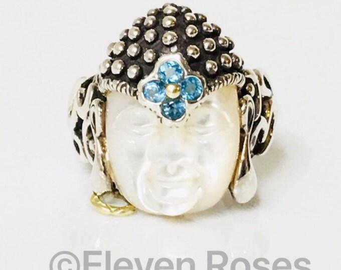 Large Barbara Bixby Buddha Ring Carved Mother Of Pearl 925 Sterling Silver 750 18k Gold Free US Shipping