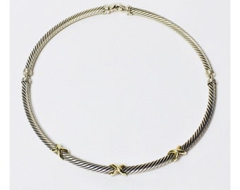 David Yurman Triple X Station Classic Cable Choker Necklace DY 925 Sterling Silver 585 14k Gold Free US Shipping