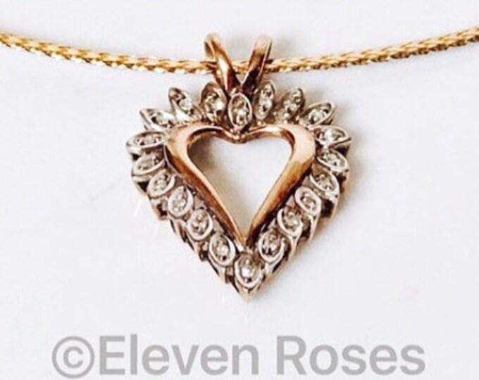 10k Gold Diamond Heart Pendant Free US Shipping