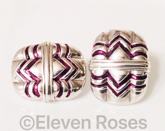 Vintage Gucci 925 Sterling Silver & Enamel Large Statement Earrings  Free US Shipping