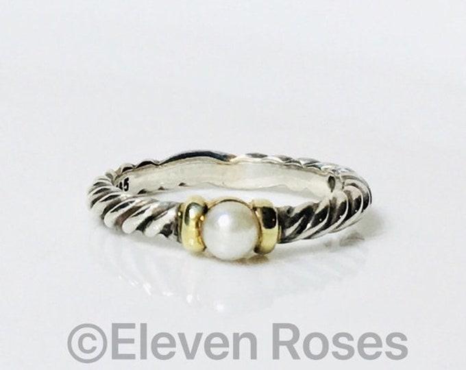 David Yurman Hampton Pearl Stacking Ring 925 Sterling Silver & 585 14k Yellow Gold Free US Shipping