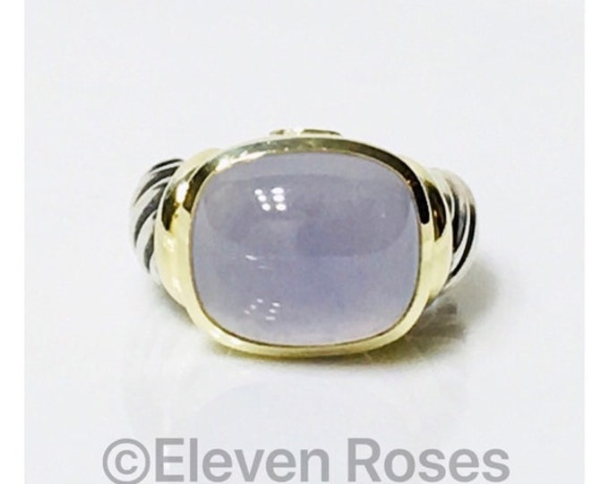 David Yurman Large Chalcedony Noblesse Statement Ring 925 Sterling Silver & 585 14k Gold Free US Shipping