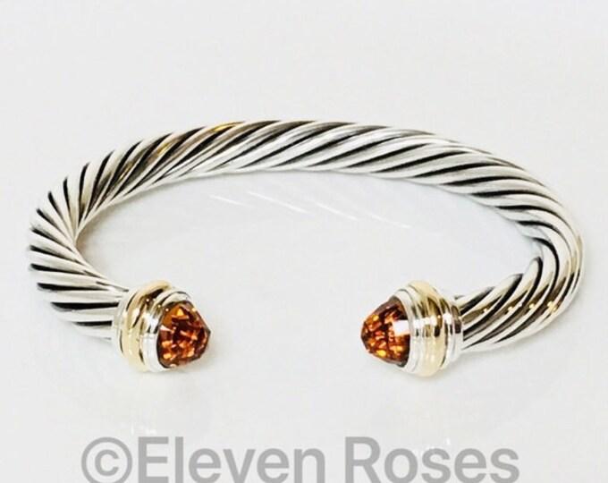 David Yurman 7mm Citrine Cable Cuff Bracelet 925 Sterling Silver & 585 14k Gold Free US Shipping