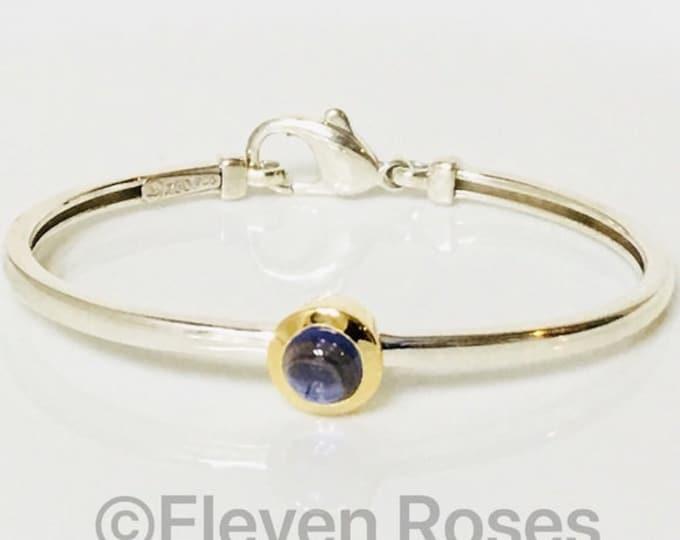 Movado Iolite Cabochon Bangle Bracelet 925 Sterling Silver & 750 18k Gold Free US Shipping