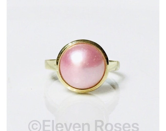 Vintage Solid 585 14k Gold Pink Pearl Solitaire Ring Free US Shipping