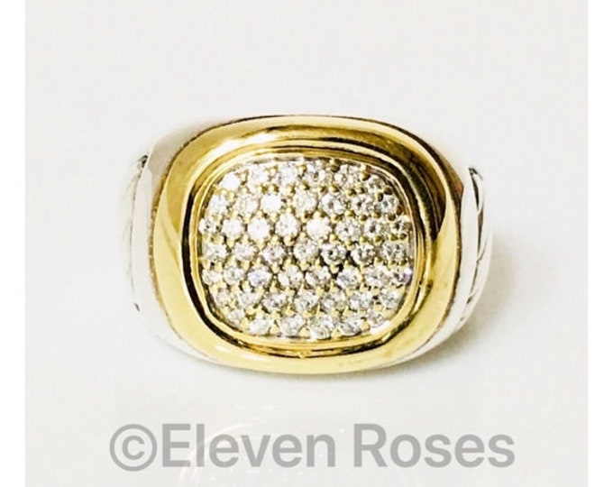 Men's David Yurman Diamond Signet Ring Classic Cable 750 18k Gold & 925 Sterling Silver Free US Shipping