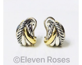 David Yurman Cable Crossover Wrap Earrings 925 Sterling Silver 750 18k Gold Free US Shipping