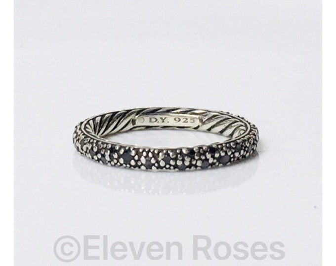 David Yurman Midnight Melange Diamond Stacking Band Ring 925 Sterling Silver Free US Shipping