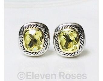 David Yurman Lemon Citrine Cushion Albion Earrings 925 Sterling Silver 585 14k Gold Free US Shipping