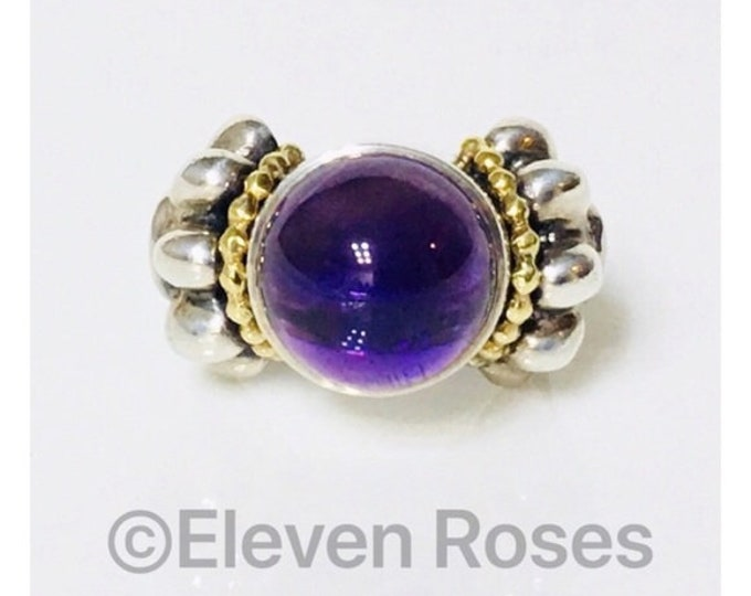 Lagos Caviar Signature Amethyst Statement Ring 925 Sterling Silver 750 18k Gold Free US Shipping