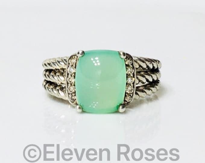 David Yurman Aqua Chalcedony & Diamond Wheaton Ring 925 Sterling Silver Free US Shipping