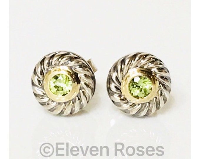 David Yurman Classic Cable Peridot Cookie Disc Earrings DY 925 Sterling Silver & 585 14k Gold Free US Shipping