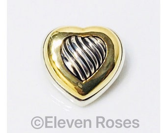 David Yurman Carved Cable Heart Brooch 925 Sterling Silver 750 18k Yellow Gold Free US Shipping