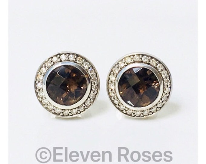 David Yurman Smoky Quartz Diamond Cerise Earrings 925 Sterling Silver 750 18k Gold Free US Shipping