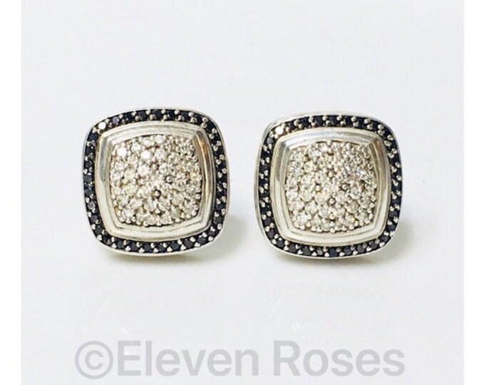 David Yurman Black & White Diamond Albion Earrings 925 Sterling Silver 750 18k Gold Free US Shipping