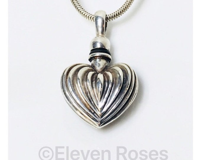 Vintage Lagos Caviar Perfume Poison Bottle Heart Pendant 925 Sterling Silver Free US Shipping