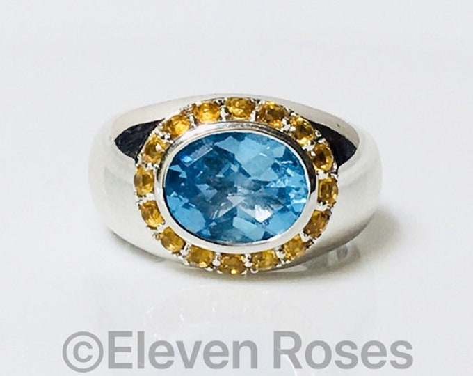 750 18k Gold Blue Topaz & Citrine Halo Cocktail Statement Ring Free US Shipping