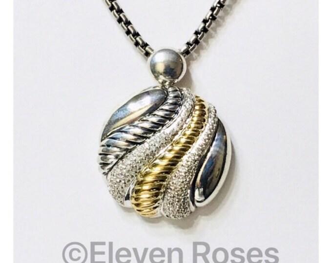 Designer Two Tone 925 Sterling Silver & 750 18k Gold Diamond Pendant Free US Shipping