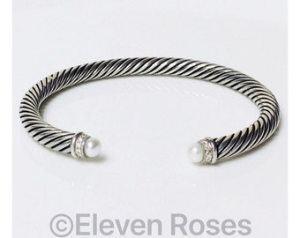 David Yurman Cable Classics Pearl Diamond Cuff Bracelet DY 925 Sterling Silver Free US Shipping