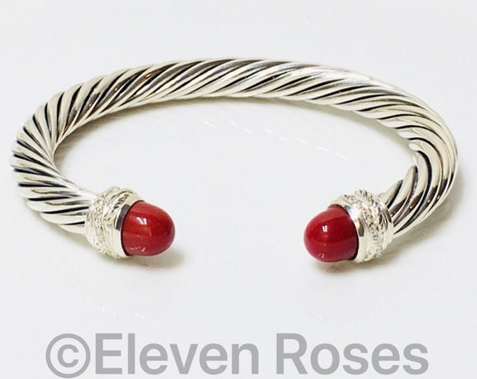 David Yurman 7mm Carnelian & Diamond Cable Crossover Cuff Bracelet 925 Sterling Silver Free US Shipping