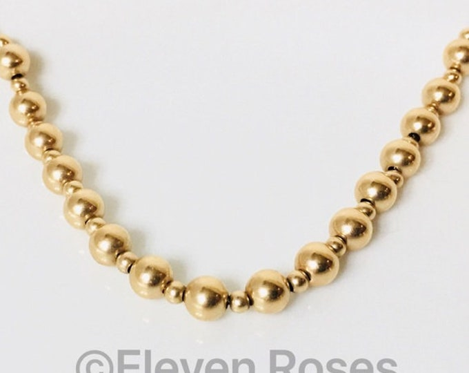 14k Gold Ball Bead Chain Necklace Free US Shipping