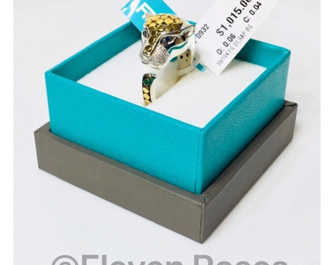 EFFY Diamond & Sapphire Feline Panther Ring 925 Sterling Silver 750 18k Gold Free US Shipping