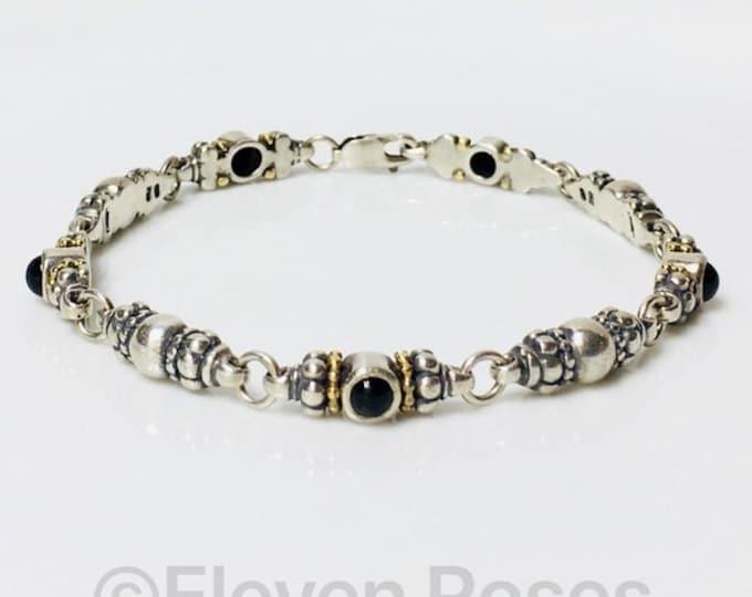 Lagos Caviar Black Onyx Link Bracelet 925 Sterling Silver 750 18k Gold Free US Shipping