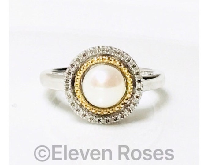 Alwand Vahan Pearl Diamond Double Halo Ring 925 Sterling Silver 585 14k Gold Free US Shipping