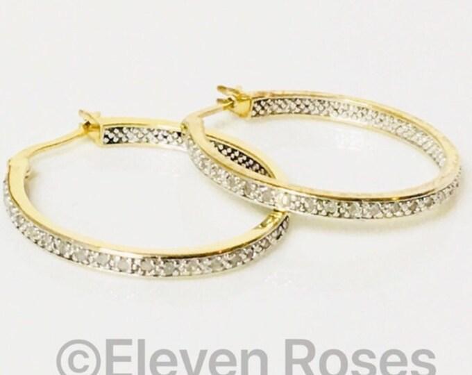 Diamond Hoop Earrings 925 Sterling Silver & 750 18k Gold Free US Shipping