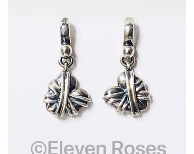 Barry Kieselstein Cord 1998 Wrapped Heart Drop Earrings 925 Sterling Silver Free US Shipping