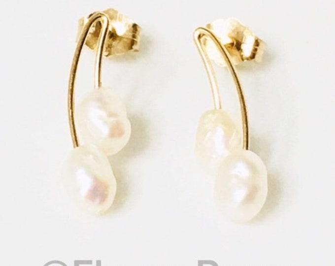 Vintage 585 14k Gold Pearl Drop Earrings Free US Shipping