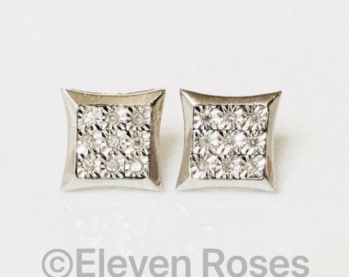 Large Diamond Kite Stud Earrings 925 Sterling Silver Free US Shipping