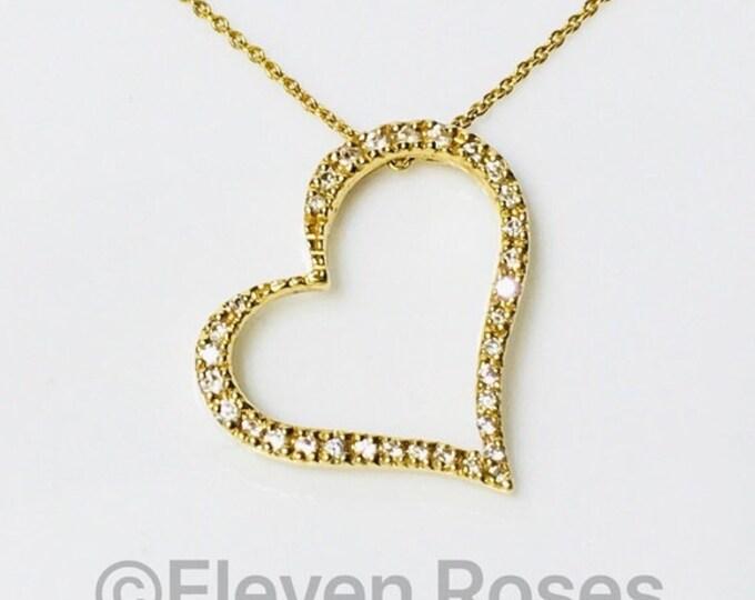Roberto Coin 750 18k Gold Slanted Diamond Heart Pendant Necklace Free US Shipping