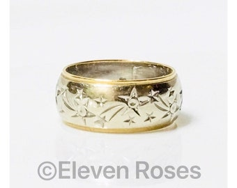 Unisex Solid 585 14k Yellow Gold Etched Engraved Ornate Wedding Band Ring Free US Shipping