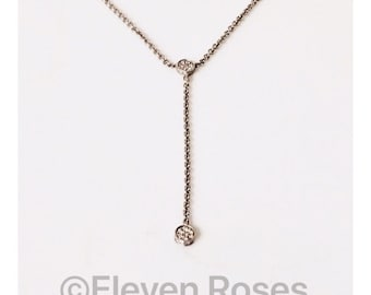 Movado Diamond Lariat Drop Necklace 925 Sterling Silver & 750 18k Gold Free US Shipping