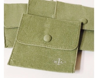 Van Cleef & Arpels VCA Green Protective Jewelry Travel Pouch Snap Closure Free US Shipping