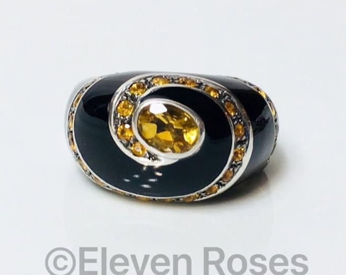 Extra Large Black Enamel Citrine Gemstone Statement Dome Ring Free US Shipping