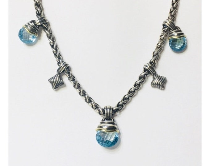 David Yurman Blue Topaz Acorn Quatrefoil Drop Necklace DY 925 Sterling Silver 585 14k Gold Free US Shipping