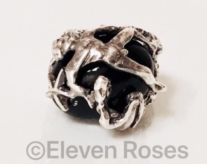 Large Black Onyx Brutalist Organic Nude Male Female Figures Art Form Ring 925 Sterling Silver Free US Shipping