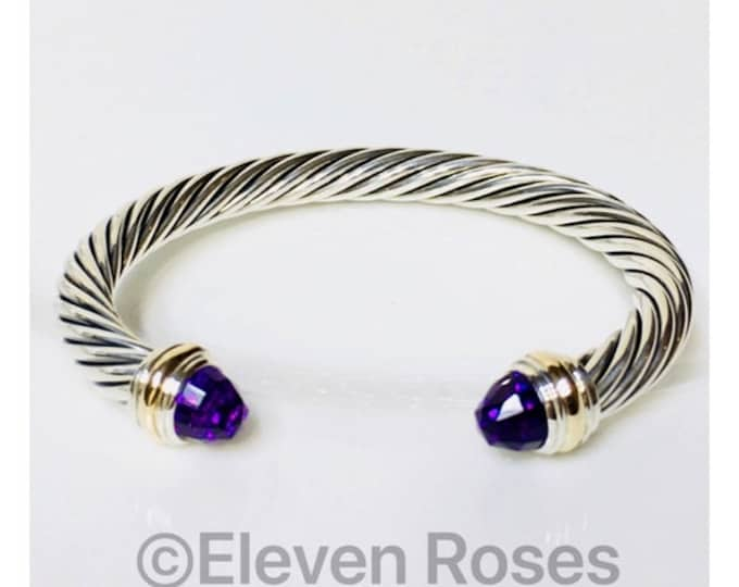 David Yurman 7mm Amethyst Cable Cuff Bracelet DY 925 Sterling Silver 585 14k Gold Free US Shipping