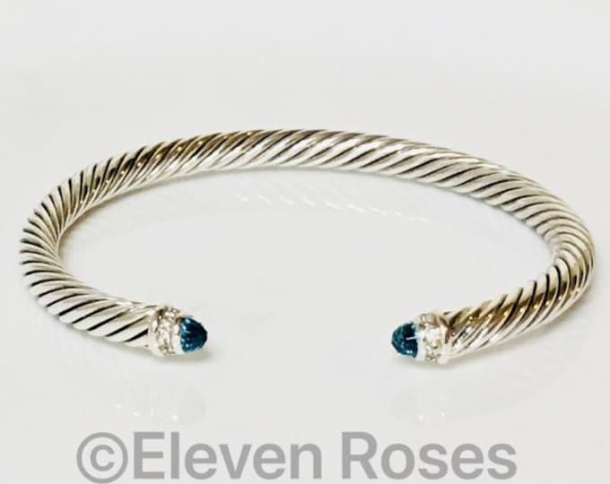 David Yurman Cable Classics Blue Topaz & Diamond Cuff Bracelet DY 925 Sterling Silver Free US Shipping