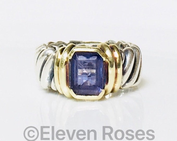 David Yurman Iolite Wide Cable Band Ring 925 Sterling Silver & 585 14k Yellow Gold Free US Shipping