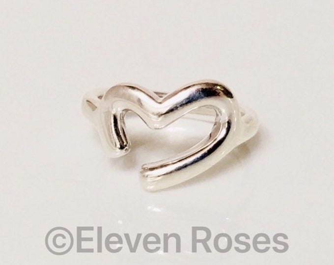 Movado Open Heart Ring 925 Sterling Silver & 750 18k Gold Free US Shipping