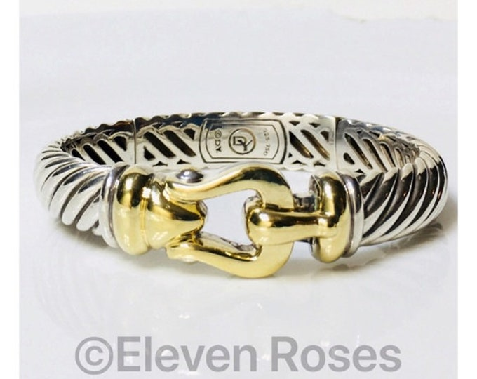 David Yurman 10mm Cable Buckle Bangle Bracelet DY 925 Sterling Silver 750 18k Gold Free US Shipping
