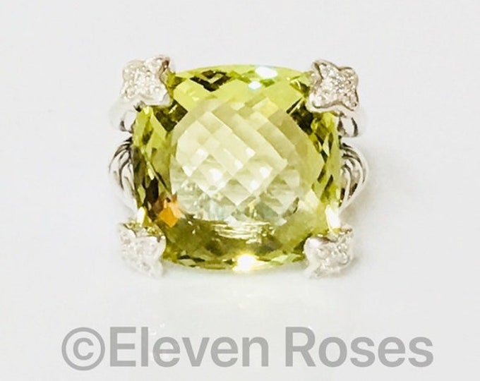 Hold For Sherline David Yurman 15mm Cushion On Point Lemon Citrine & Diamond Ring 925 Sterling Silver Free US Shipping