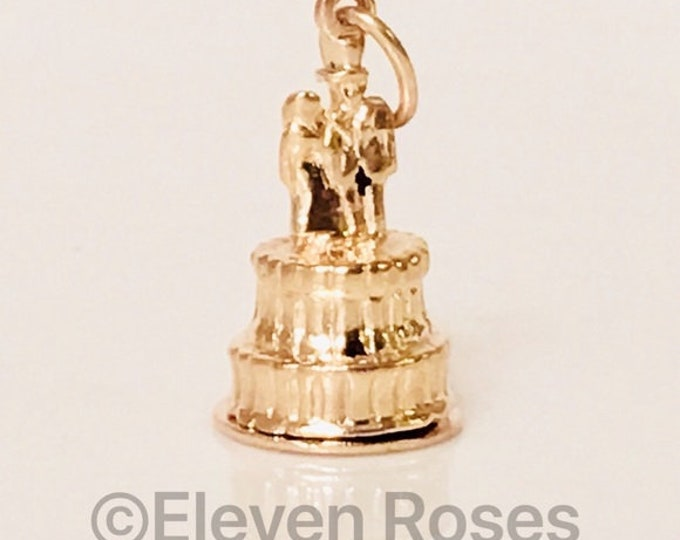 Vintage 14k Gold Mechanical Wedding Couple Cake Topper Baby Carriage Charm Free US Shipping