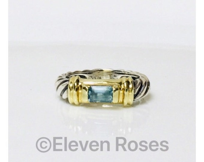 David Yurman Classic Cable Blue Topaz Pinky Stack Ring DY 925 Sterling Silver 585 14k Gold Free US Shipping